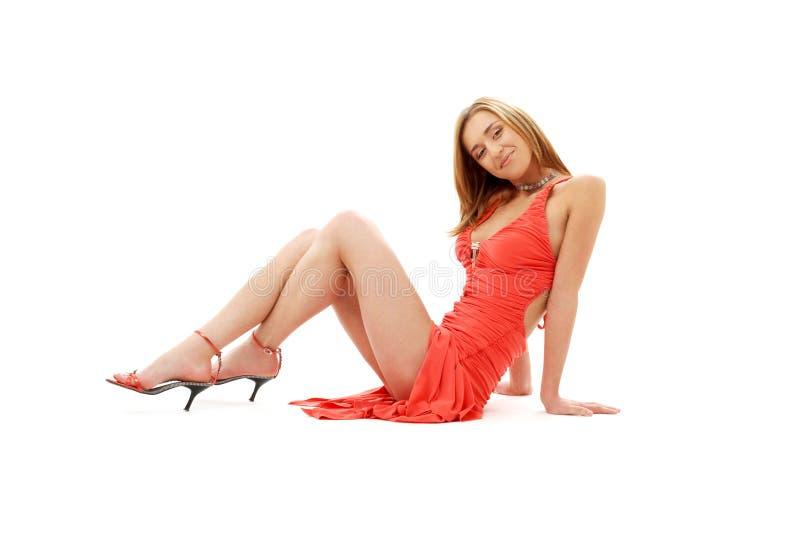 Klassisches rotes Kleiderpin-up-girl #2 stockbild
