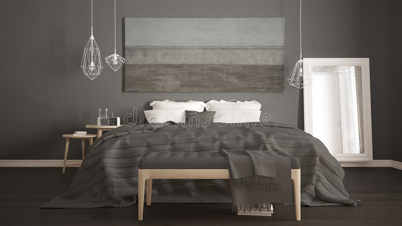 Klassisches Schlafzimmer, skandinavische moderne Art, minimalistic interio lizenzfreie stockfotografie