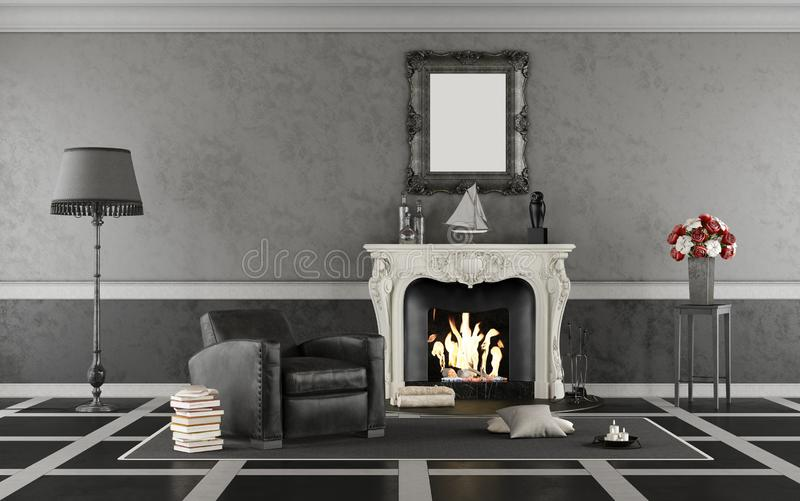 Klassisches Schwarzweiss-Wohnzimmer mit Kamin lizenzfreie abbildung