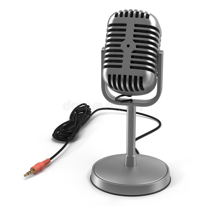 Klassisches Studio-Mikrofon auf Weiß Abbildung 3D vektor abbildung