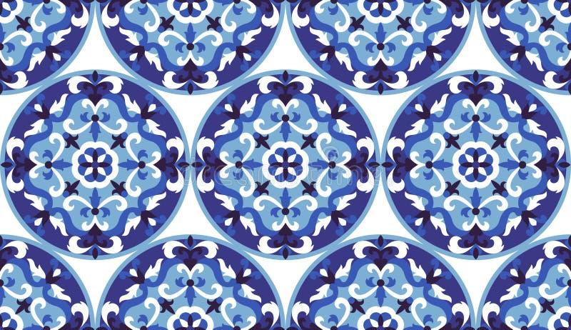 Klassisches weißesnahtloses Muster des Vektormosaiks Blau- und stock abbildung