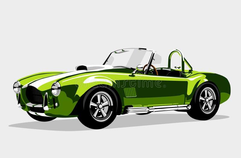 Klassisk AC Shelby Cobra Roadster för sportgräsplanbil stock illustrationer