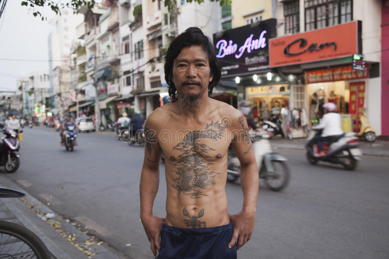 Klassisk asiatisk tatuering royaltyfria foton