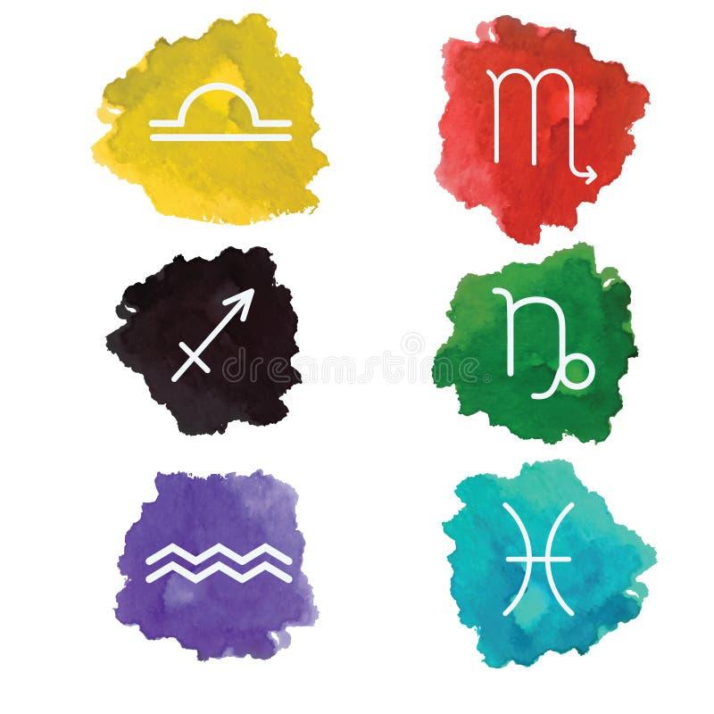 Klassisk astrologisk zodiak undertecknar in vattenfärgfärgstänk vektor för set för tecknad filmhjärtor polar royaltyfri illustrationer