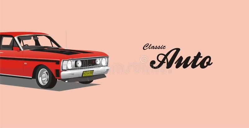 Klassisk biladvertizing för vektor stock illustrationer