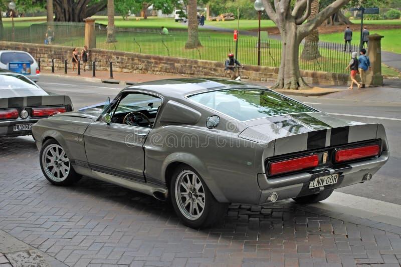 Klassisk bilmodell av den Shelby mustanget 1967 GT500 som bakifrån parkeras på en gata - sikt arkivfoton