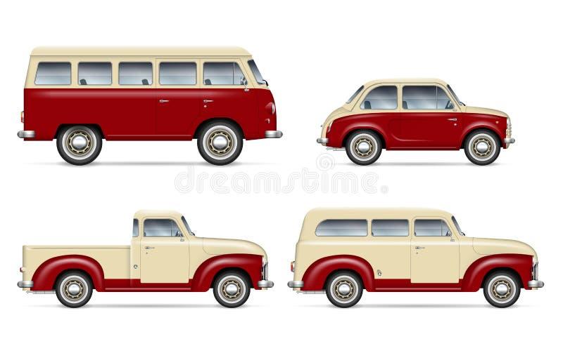 Klassisk bilvektorupps?ttning stock illustrationer