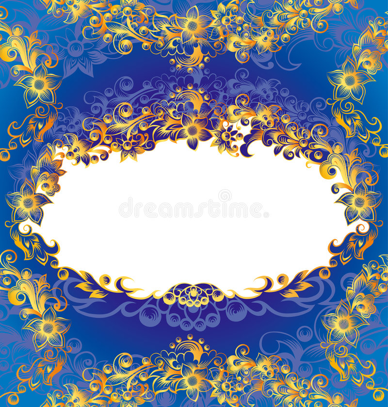 klassisk blom- ram royaltyfri illustrationer