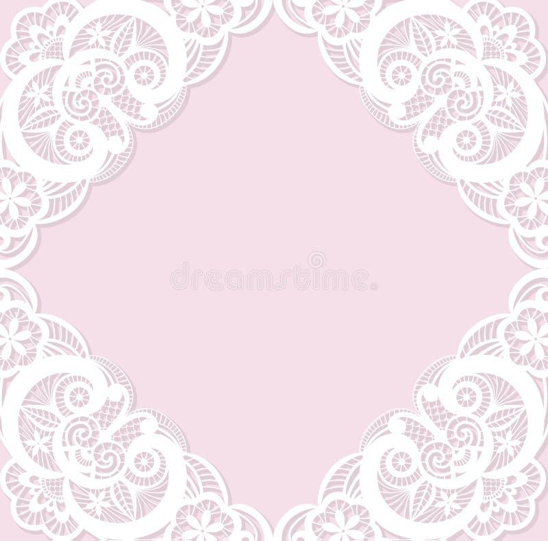Klassisk bröllopinbjudanmall med vit l stock illustrationer