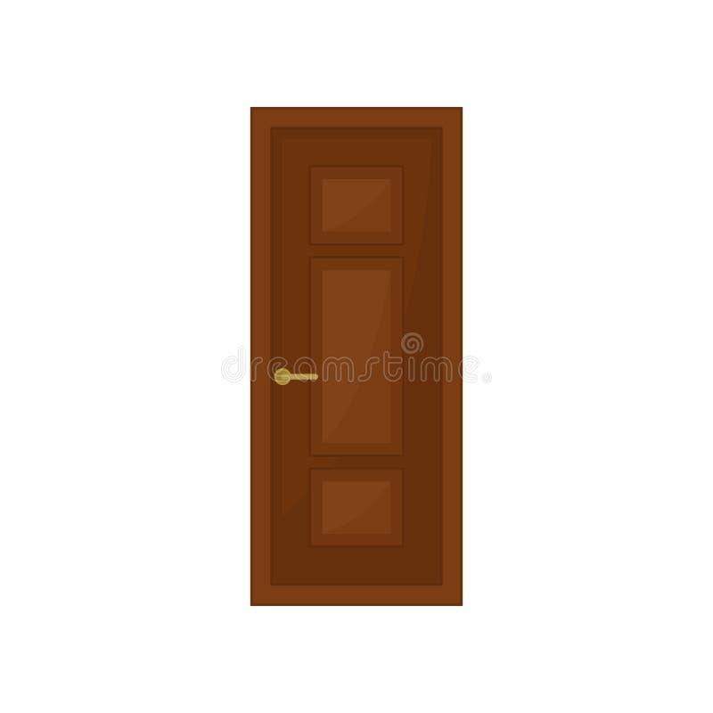 Klassisk brun dörr på vit bakgrund också vektor för coreldrawillustration vektor illustrationer