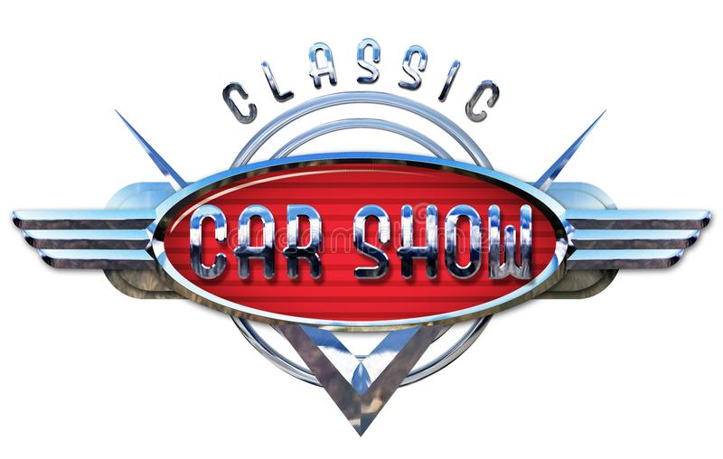 Klassisk Car Show Logo Chrome royaltyfri fotografi