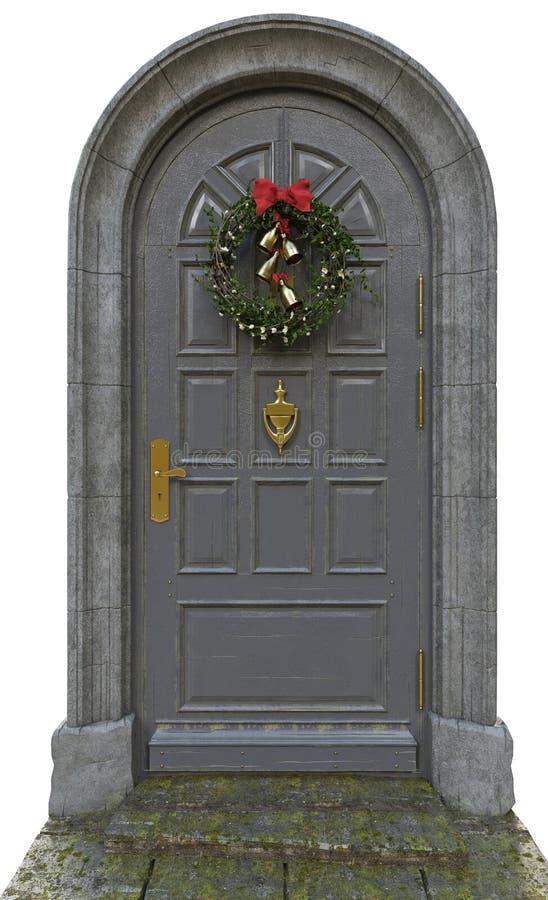 Klassisk dörr med en krans arkivbild