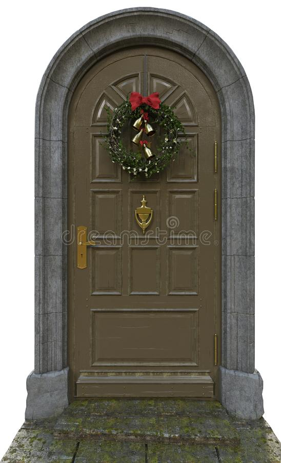 Klassisk dörr med en krans arkivfoton