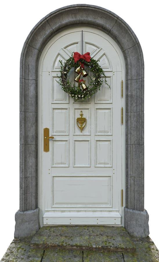 Klassisk dörr med en krans royaltyfri foto