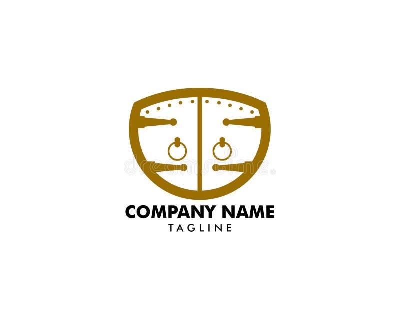 Klassisk dörrsymbolsvektor Logo Template stock illustrationer