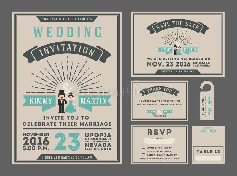Klassisk design för inbjudan för tappningsunburstbröllop med partecknade filmen royaltyfri illustrationer
