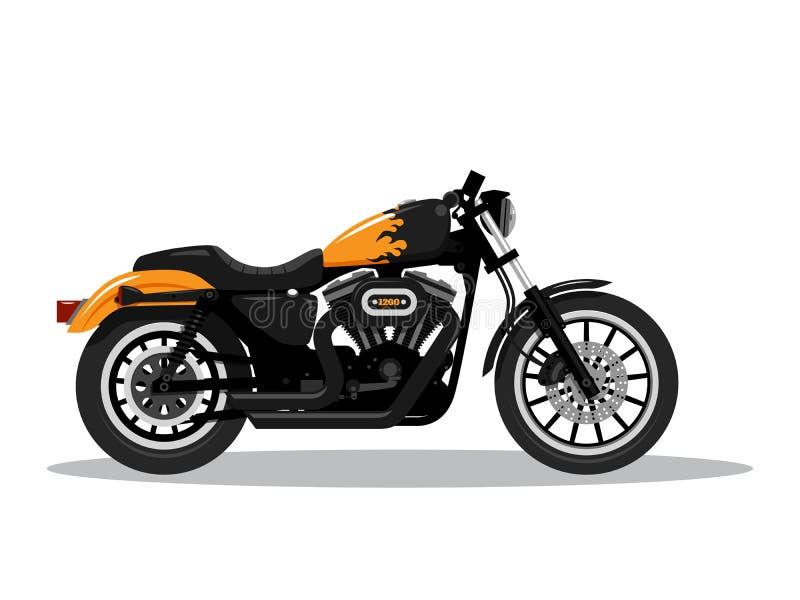 Klassisk detaljerad motorcykel i plan stildesign Slapp fokus ocks? vektor f?r coreldrawillustration stock illustrationer