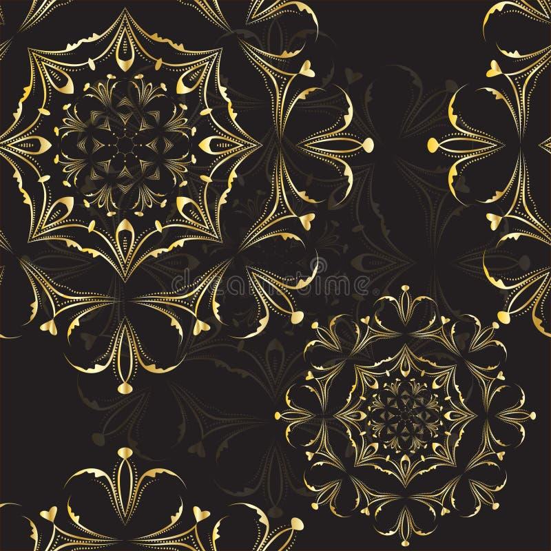 Klassisk elegant modellmandala, guldsvarttextur också vektor för coreldrawillustration stock illustrationer
