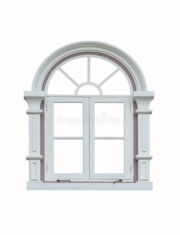 Klassisk fönsterram på vit arkivbild