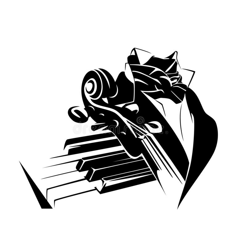 Klassisk filharmonisk design för musikersvartvektor stock illustrationer