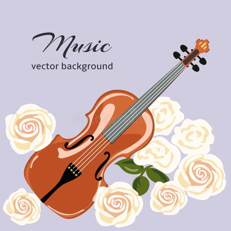 Klassisk fiol med vita rosor Musikalisk bakgrund royaltyfri illustrationer
