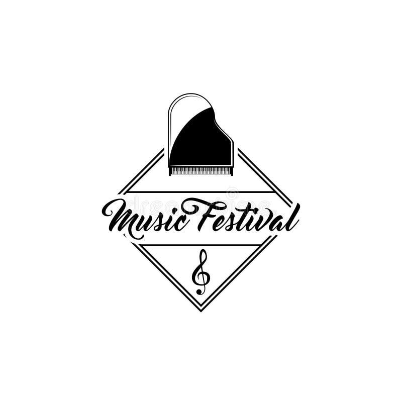 Klassisk flygel Etikett för emblem för logo för musikfestival G-klavtecken saxofon för del för hornsectioninstrument musikalisk v vektor illustrationer
