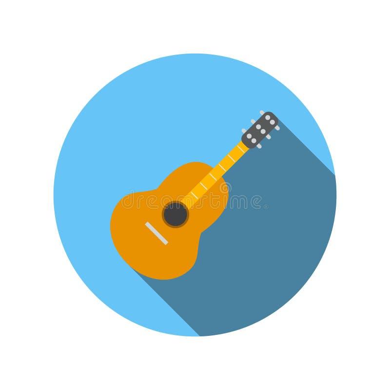 Klassisk gitarrlägenhetsymbol stock illustrationer