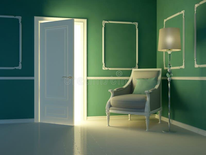 klassisk grön inre lyx för lägenhet stock illustrationer