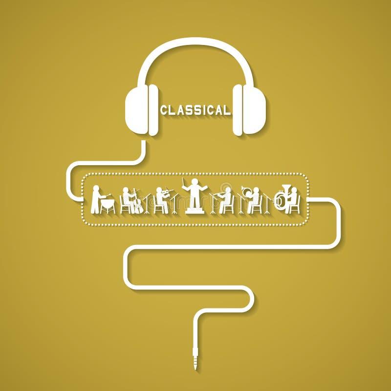 Klassisk Headphone stock illustrationer