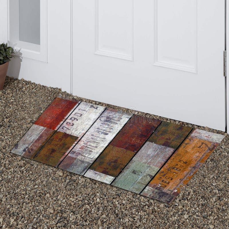 Klassisk hem för yttersida för dörr för tappning mång- färg utskrivavet utomhus- mattt royaltyfria foton