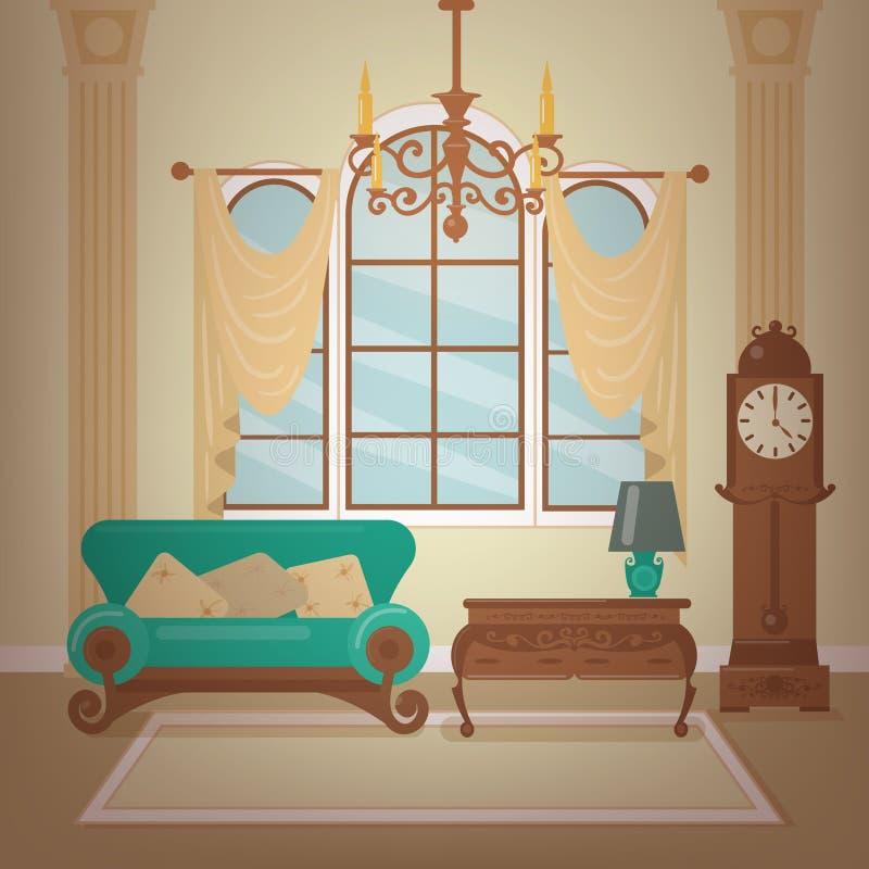 Klassisk hemmiljö av vardagsrum med en ljuskrona stock illustrationer