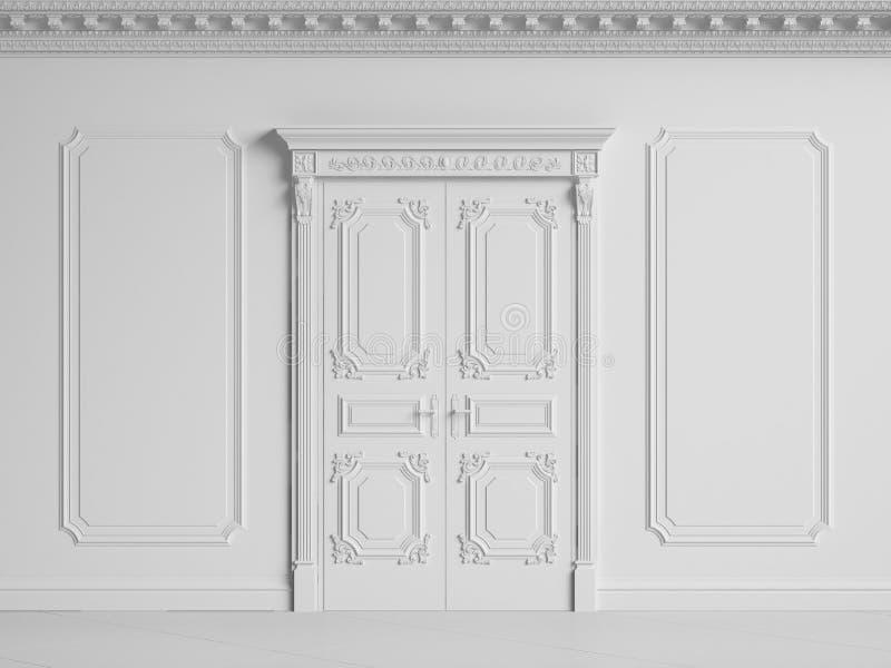Klassisk innervägg med kornischen och stöpningar Dörrar med deco royaltyfri illustrationer