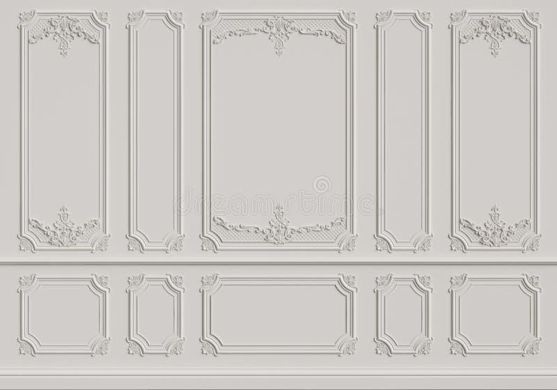 Klassisk innervägg med stöpningar arkivfoton