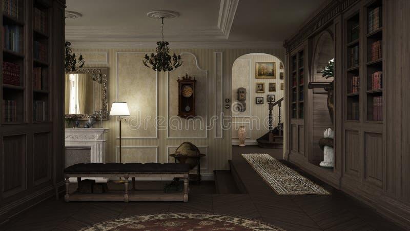 Klassisk inre, lobby med spisen stock illustrationer