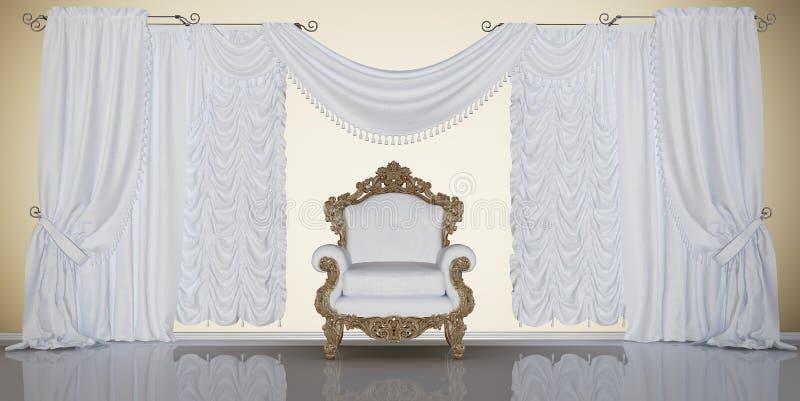 Klassisk inre med stol och gardiner vektor illustrationer