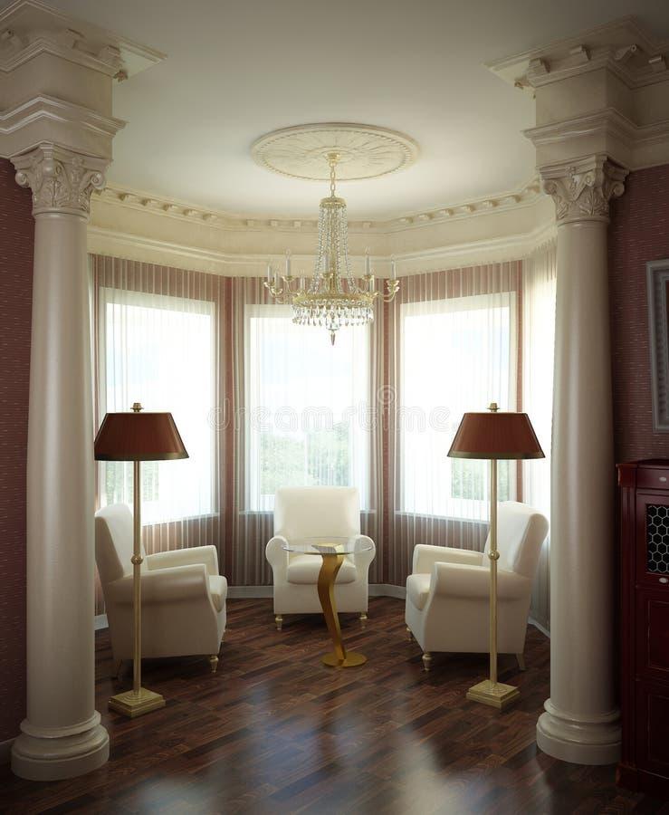 klassisk interior 3d royaltyfri illustrationer