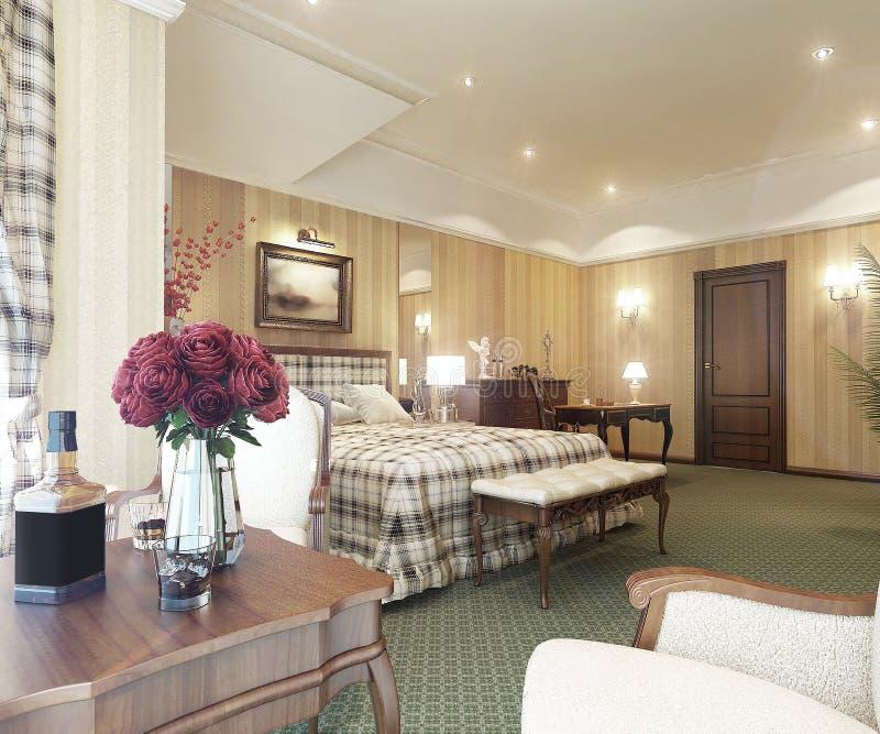 klassisk interior för sovrum royaltyfria foton