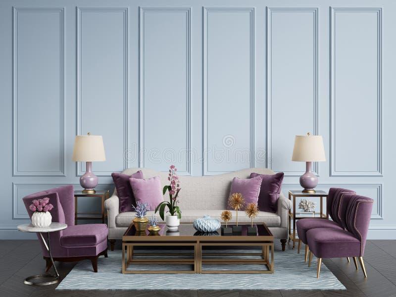 klassisk interior Soffa stolar, sidetables med lampor, tabell med dekoren fotografering för bildbyråer