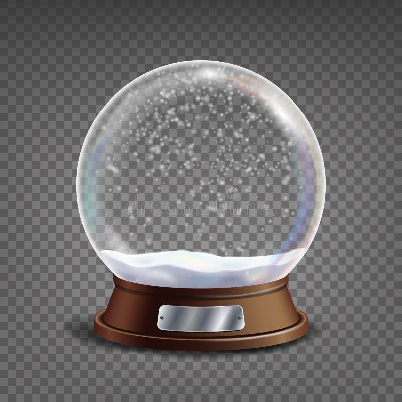 klassisk jordklotvektor för snö 3d Glass sfär med ilskna blickar och Gighlights Isolerat på genomskinlig bakgrundsillustration royaltyfri illustrationer