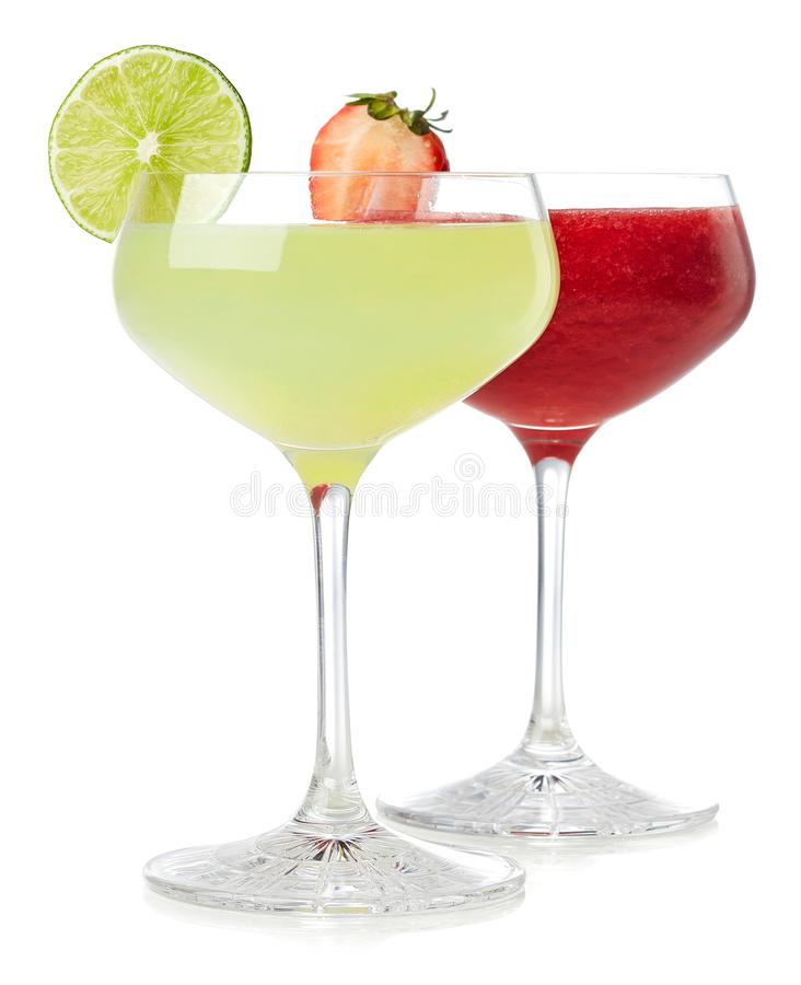 Klassisk limefrukt- och jordgubbedaiquiricoctail royaltyfria foton