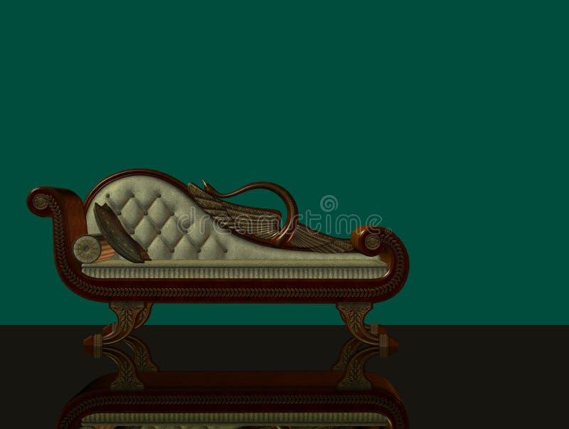 klassisk longue för chaise 3d vektor illustrationer
