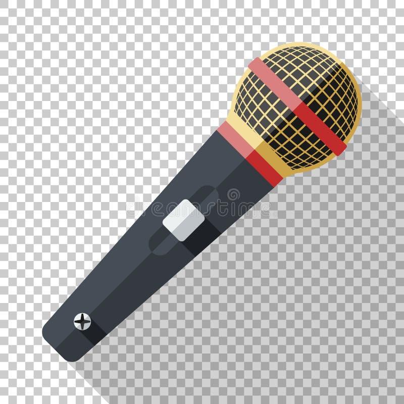 Klassisk mikrofonsymbol i plan stil på genomskinlig bakgrund royaltyfri illustrationer