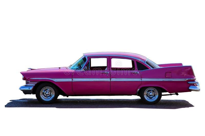 Klassisk modell av den rosa tappningamerikanaren av femtiotal eller sextio fotografering för bildbyråer