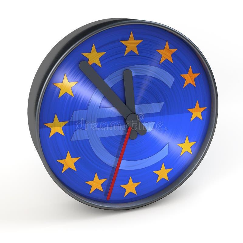 Klassisk modern klocka med klockaframsidan med beståndsdelar av den europeiska unionen, eurotecken, stjärnor royaltyfri illustrationer