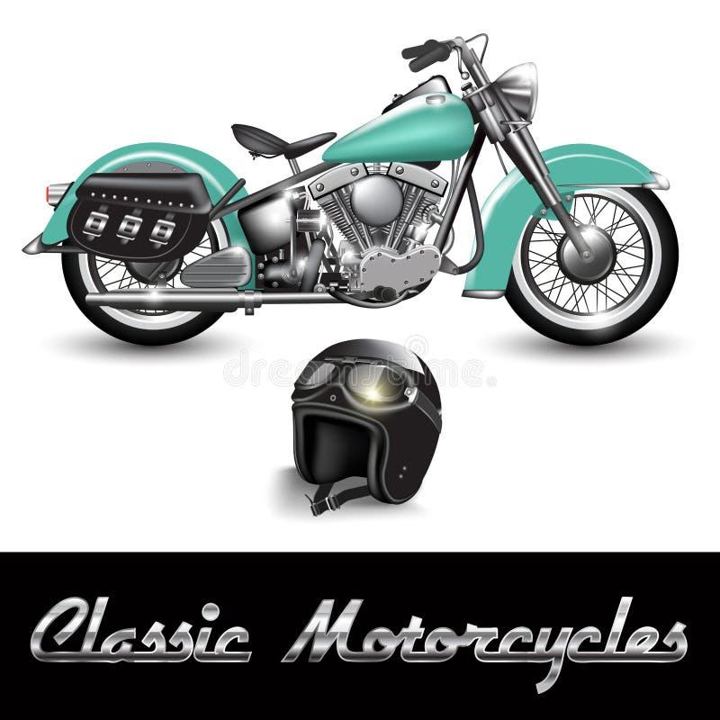 klassisk motorcykel vektor illustrationer