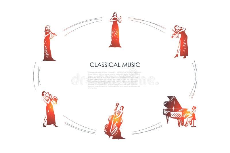 Klassisk musik - kvinnamusiker som spelar fl?jten, saxofon, violoncell, piano, fiol, upps?ttning f?r klockavektorbegrepp vektor illustrationer