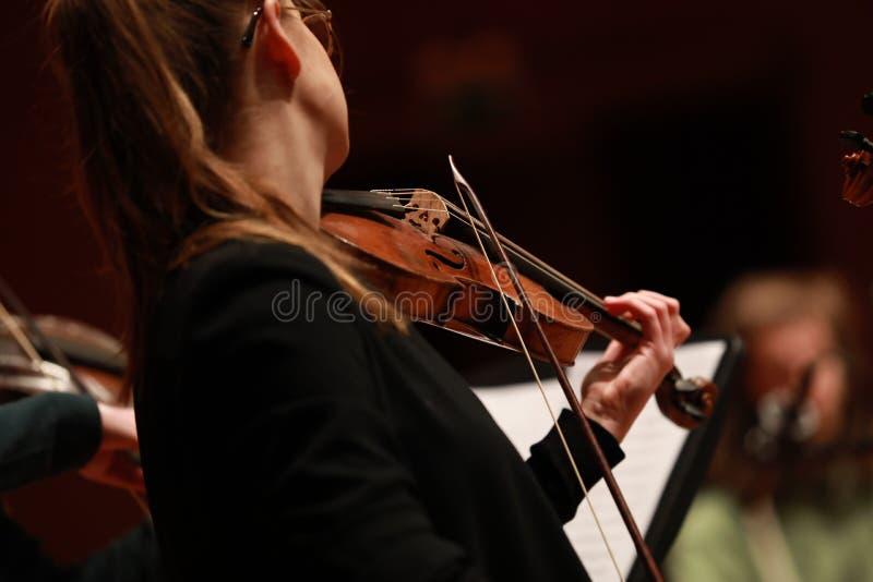 klassisk musik Violinister i konsert Stringed violinistCloseup av musikern som spelar fiolen under en symfoni fotografering för bildbyråer