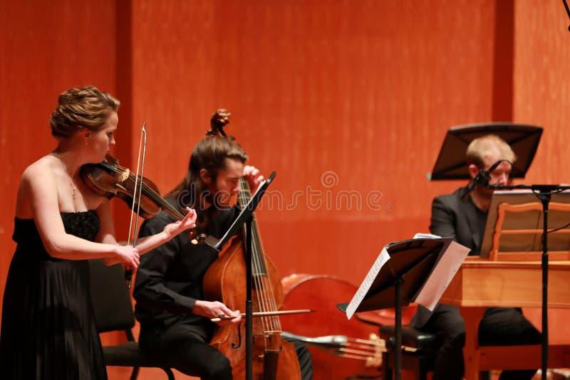 klassisk musik Violinister i konsert Stringed violinistCloseup av musikern som spelar fiolen under en symfoni arkivfoton