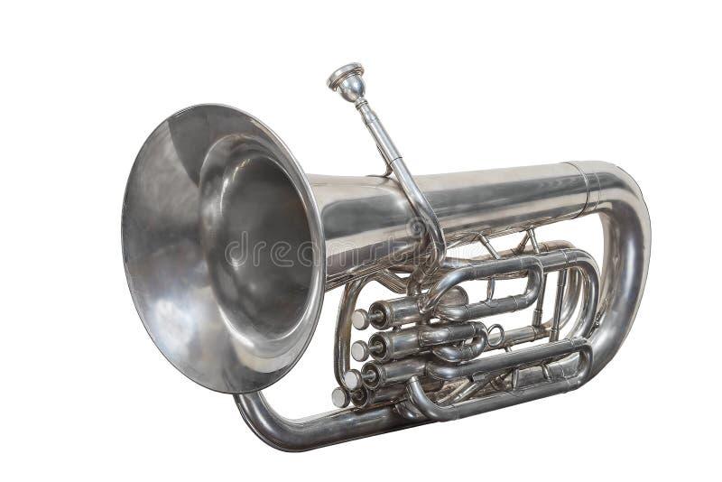 Klassisk musikmässingsinstrumenteufonium som isoleras på vit bakgrund fotografering för bildbyråer