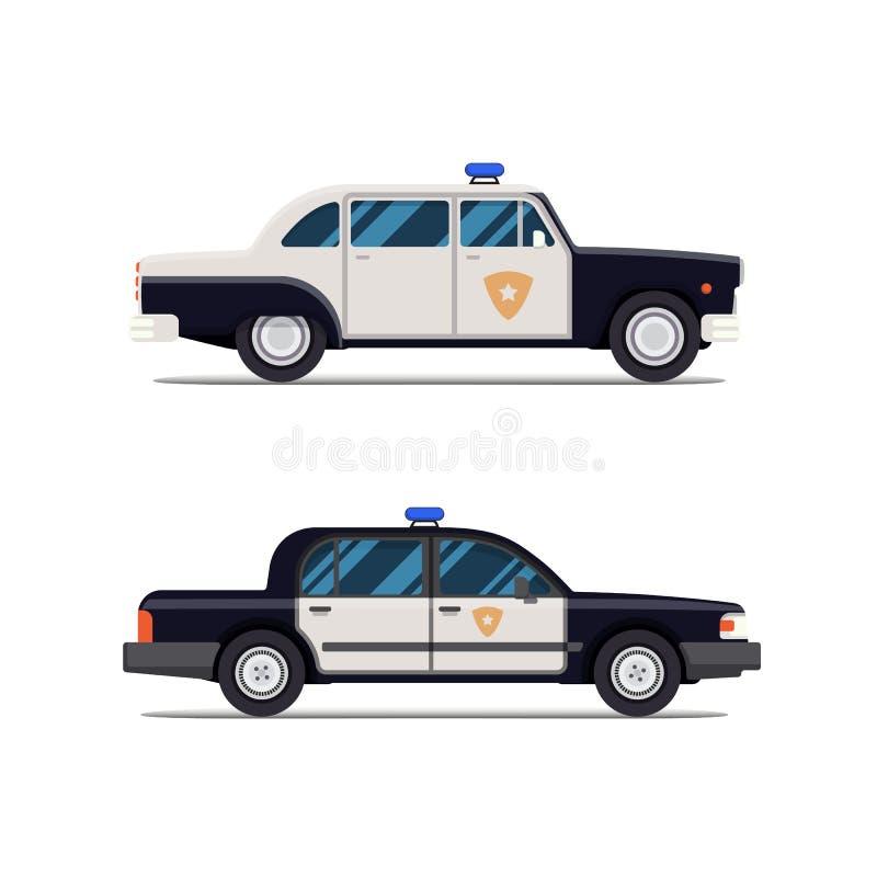 Klassisk polisbil för vektor Slapp fokus Modern plan stil royaltyfri illustrationer